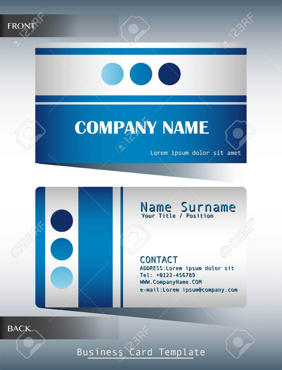 A Blue And Grey Calling Card Template Throughout Template For Calling Card