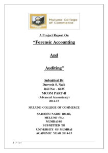 A Project Report On Forensic Accounting And Auditing in Forensic Accounting Report Template