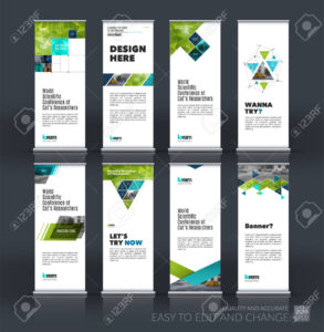 Abstract Business Vector Set Of Modern Roll Up Banner Stand Design.. with Banner Stand Design Templates
