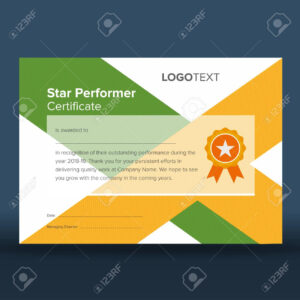 Abstract Geometric Green And Yellow Print Ready Star Performer.. intended for Star Performer Certificate Templates
