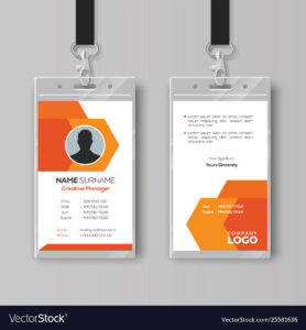 Abstract Orange Id Card Design Template throughout Company Id Card Design Template