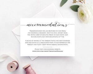Accommodation Cards, Accommodation Card Template, Accommodations Wedding  Card, Wedding Accommodation Card, Accommodations Card Rustic with Wedding Hotel Information Card Template