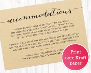 Accommodations Card · Wedding Templates And Printables intended for Wedding Hotel Information Card Template