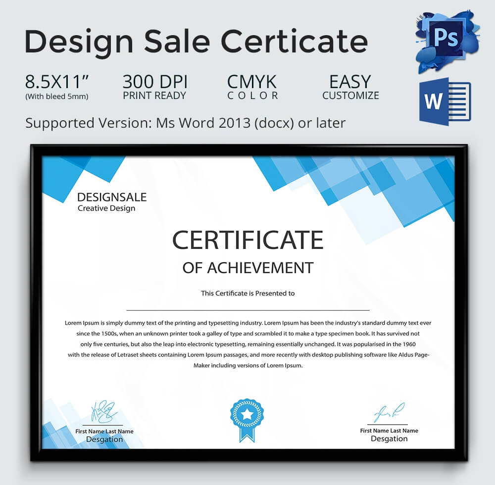 Achievement Award Template – 12+ Word, Pdf Documents For Sales Certificate Template