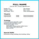 Actor Resume Sample Presents How You Will Make Your Within Theatrical Resume Template Word