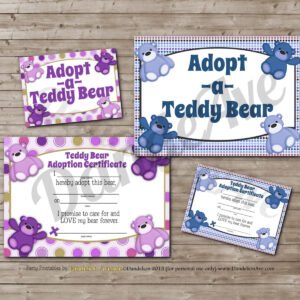 Adopt-A-Teddy Bear Adoption Certificate And Sign Set – Purple & Blue pertaining to Toy Adoption Certificate Template