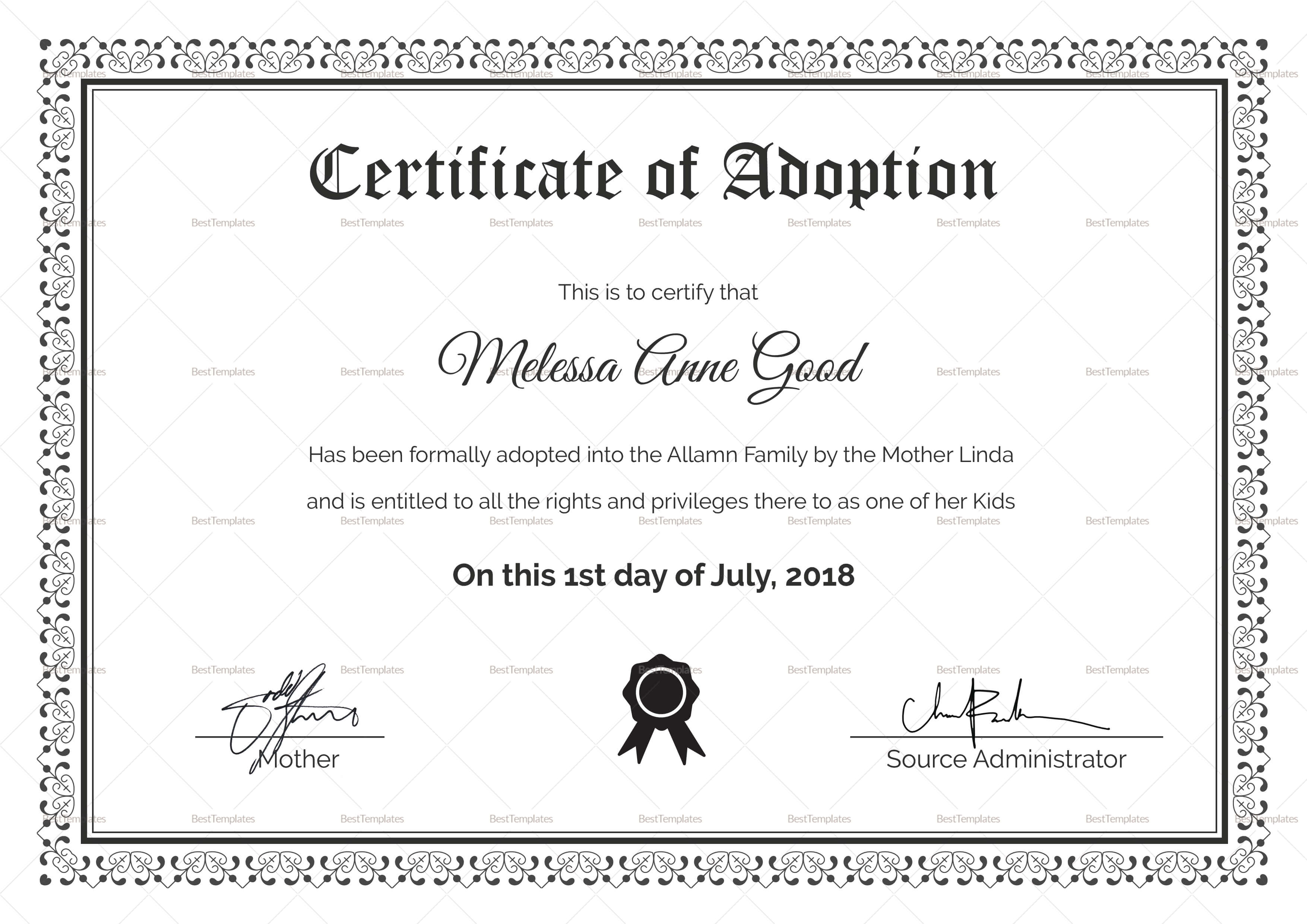 Adoption Certificate Design Template Regarding Blank Adoption Certificate Template