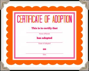 Adoption Certificate Template – Certificate Templates With Regard To Adoption Certificate Template
