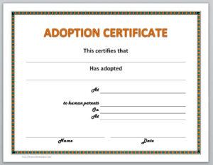 Adoption Certificate Template for Pet Adoption Certificate Template