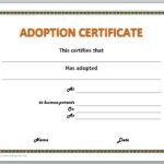 Adoption Certificate Template In Child Adoption Certificate Template