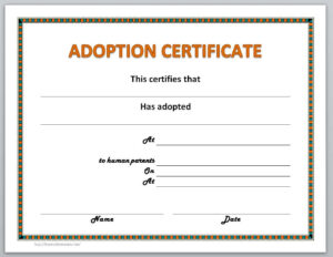 Adoption Certificate Template Regarding Blank Adoption Certificate Template