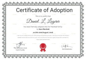 Adoption Certificate Template Word | Certificatetemplateword for Child Adoption Certificate Template