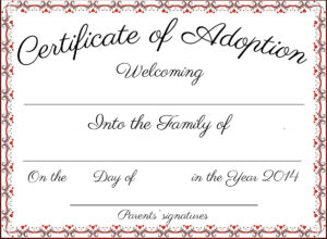 Adoption Certificate Template Word | Certificatetemplateword Pertaining To Blank Adoption Certificate Template