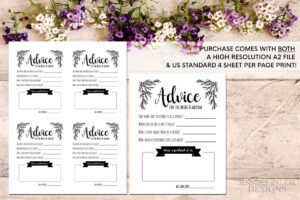 Advice Card Template. Advice For The Newlyweds. Marriage Within Marriage Advice Cards Templates