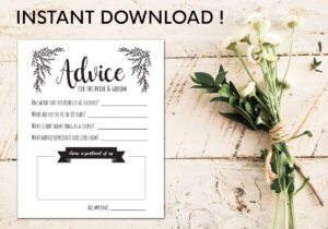 Advice Cards For The Bride And Groom | Digital Template In regarding Marriage Advice Cards Templates