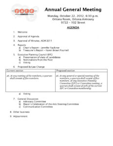 Agenda: Agm Agenda Template Agm Agenda Template Canada with regard to Treasurer's Report Agm Template