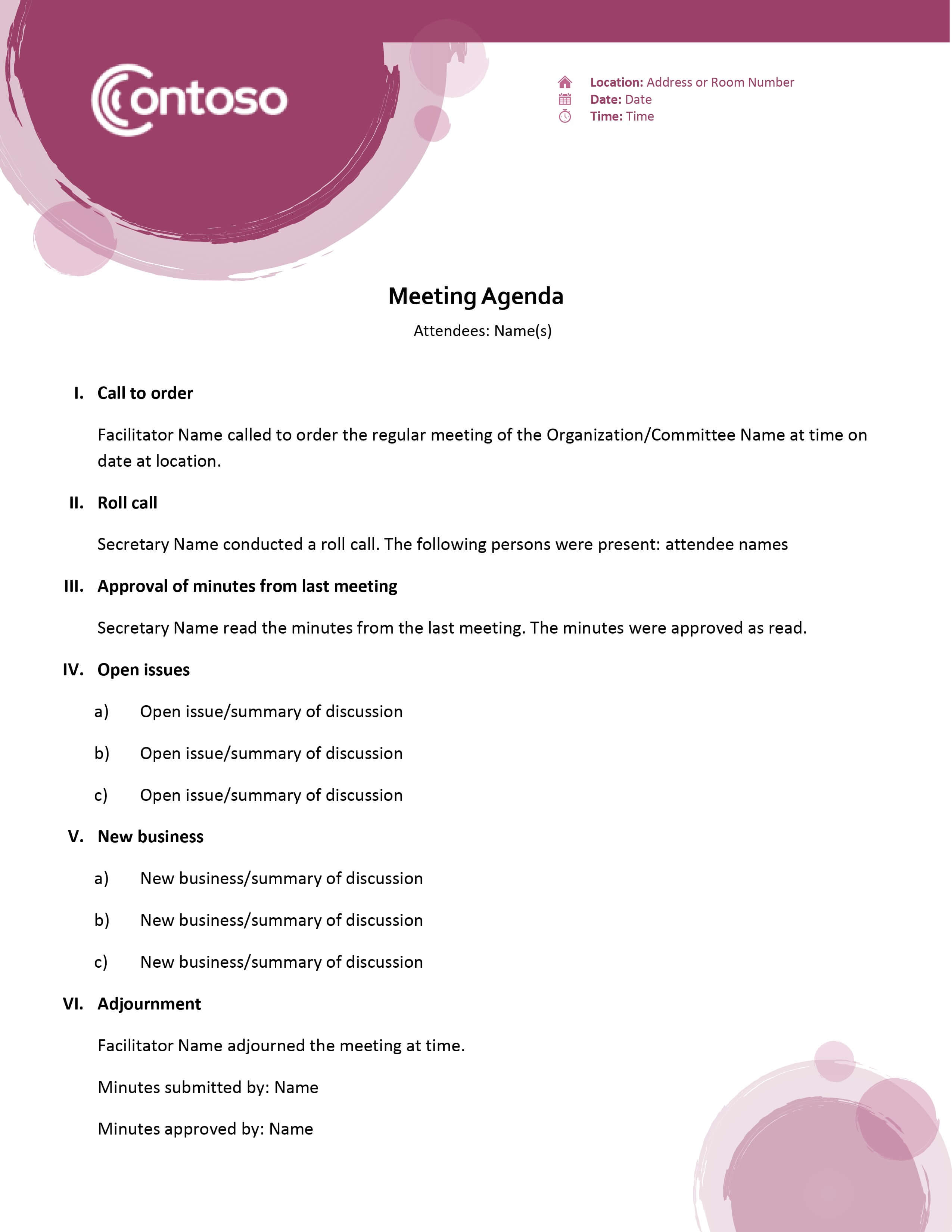 Agendas - Office Inside Free Meeting Agenda Templates For Word