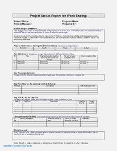 Air Balance Report Template Cool Project Weekly Status for Air Balance Report Template