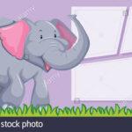 An Elephant On Blank Template Illustration Stock Vector Art Inside Blank Elephant Template