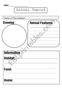 Animal Report Template – Esl Worksheetflora.m123 in Animal Report Template