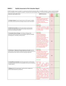 Annex L – Quality Assessment Of The Evaluation within Data Quality Assessment Report Template