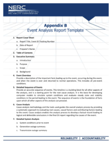 Appendix B – Event Analysis Report Template throughout Reliability Report Template