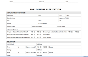 Application For Employment Template Word | Writings And intended for Job Application Template Word