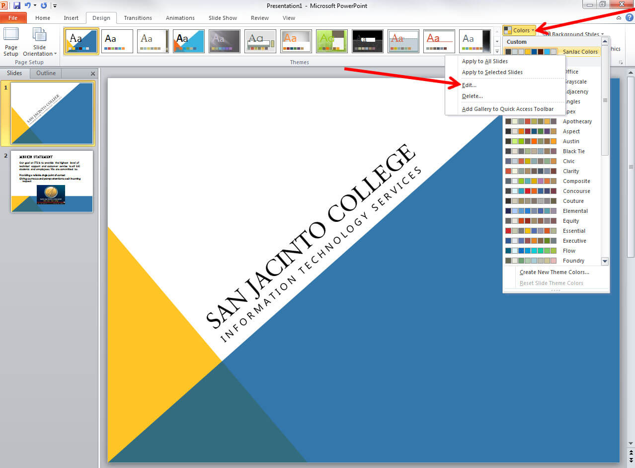 Applying And Modifying Themes In Powerpoint 2010 With Regard To How To Change Template In Powerpoint
