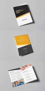 Architecture And Construction Bi-Fold Brochure Template Psd pertaining to Two Fold Brochure Template Psd