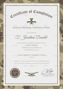 Army Camo Training Completion Certificate Template in Army Certificate Of Completion Template