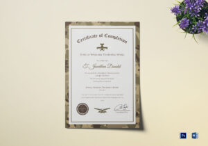 Army Camo Training Completion Certificate Template with Army Certificate Of Completion Template