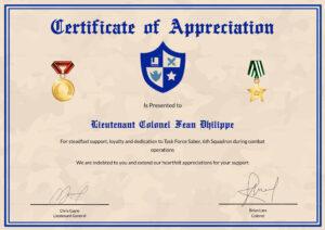 Army Certificate Of Appreciation Template inside Army Certificate Of Achievement Template