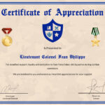 Army Certificate Of Appreciation Template Within Army Certificate Of Appreciation Template