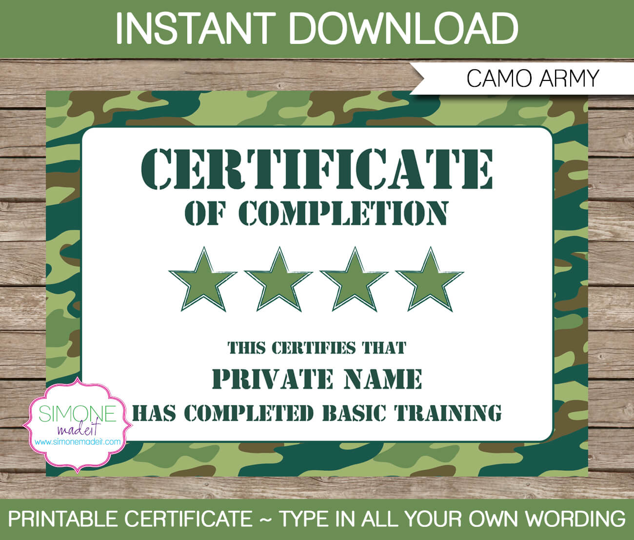 Army Party Printables, Invitations & Decorations – Camo With Regard To Boot Camp Certificate Template