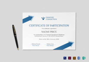 Arrow Style Participation Certificate Template pertaining to Certificate Of Participation In Workshop Template