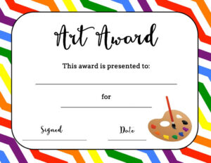 Art Award Certificate (Free Printable) | Art | Elementary Within Classroom Certificates Templates