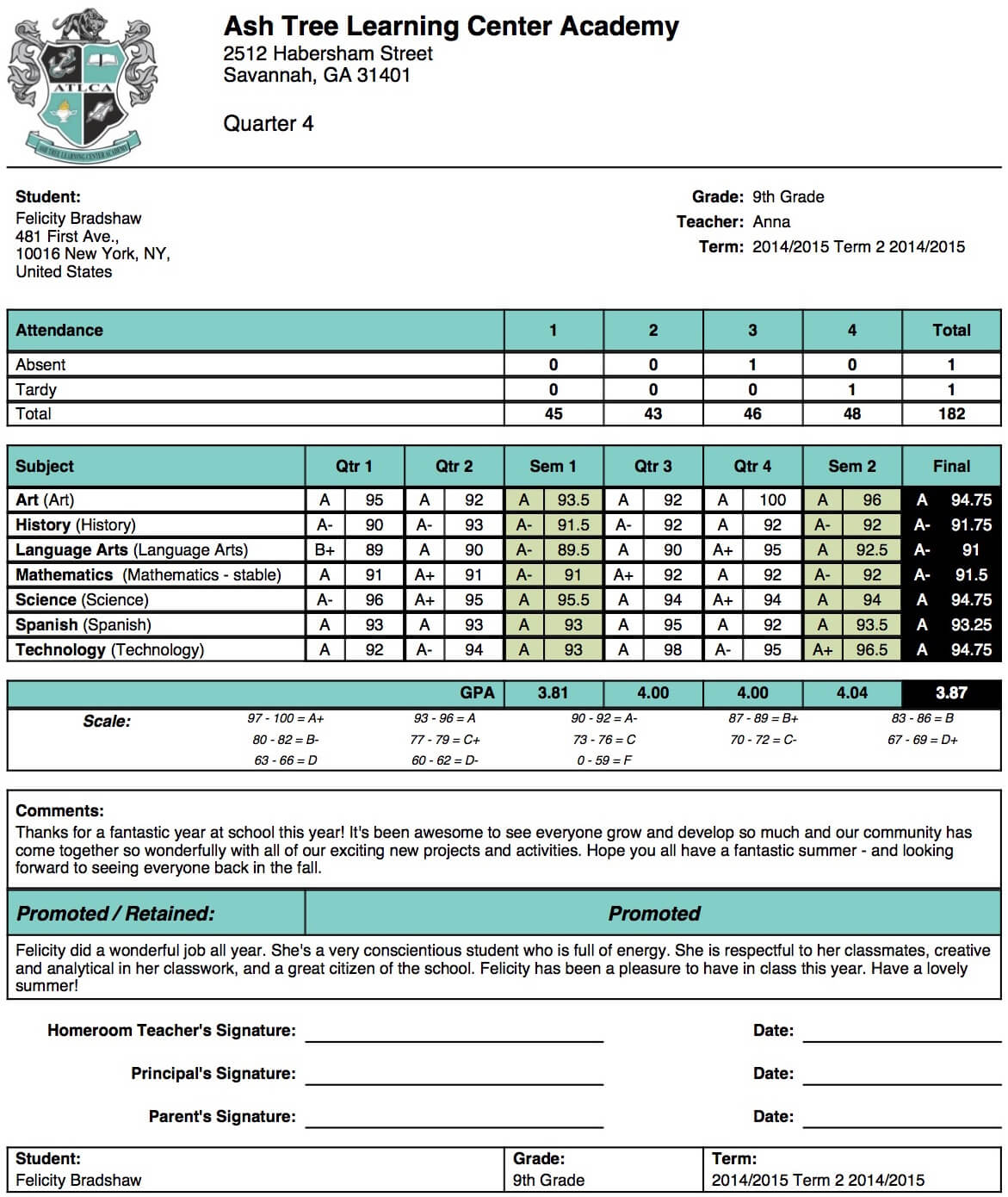 Ash Tree Learning Center Academy Report Card Template Regarding Report Card Template Middle School