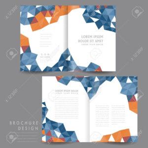 Attractive Half-Fold Brochure Template Design With Polygon Elements.. regarding Half Page Brochure Template