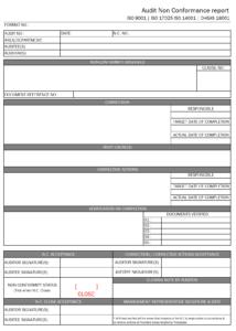Audit Non Conformance Report Format| Excel | Pdf | Sample in Non Conformance Report Form Template