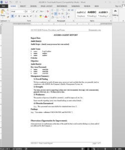 Audit Report As9100 Template | As1200-4 within Template For Audit Report