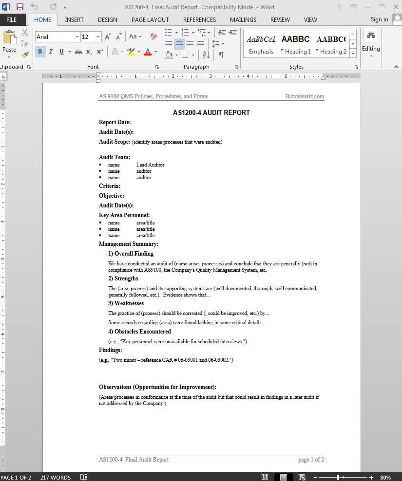 Audit Report As9100 Template | As1200 4 Within Template For Audit Report