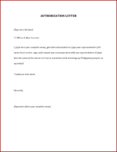 Authorization Letter Template Philippines New For Birth For Certificate Of Authorization Template