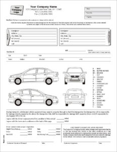 Auto Condition Report Form With Terms On Back, Item #7563 Within Truck Condition Report Template