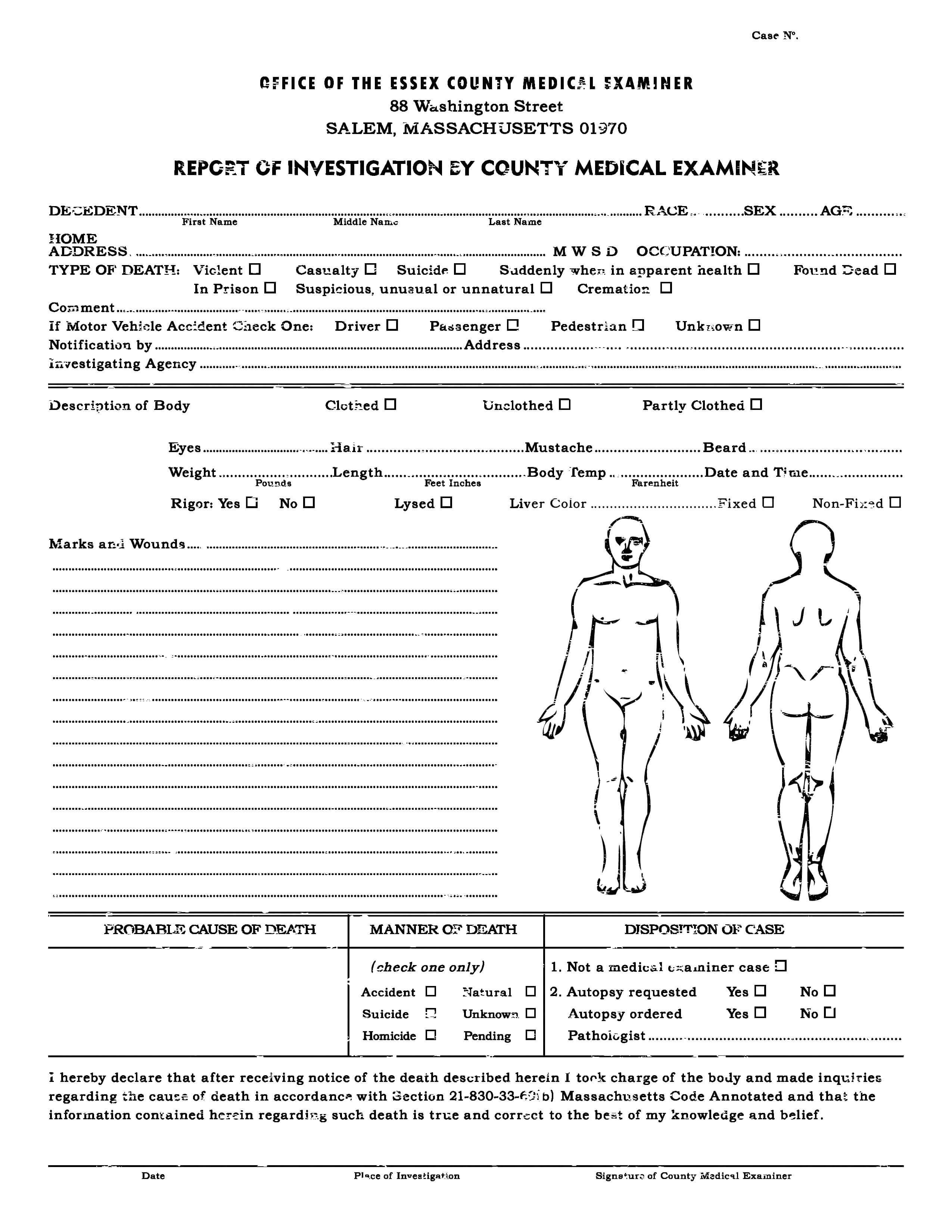 Autopsy Report Template Google Docs Blank Coroners Format With Blank Autopsy Report Template