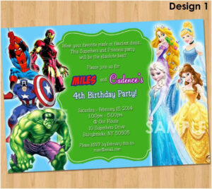 Avengers Birthday Card Template 4Th Wording Text Invitations for Avengers Birthday Card Template