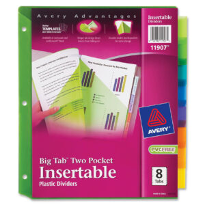 Avery Big Tab Insertable Two-Pocket Plastic Dividers, 8-Tab, Multicolor  (11907) in 8 Tab Divider Template Word