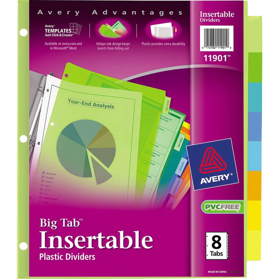 Avery® Big Tab Plastic Insertable Dividers - 8 Print On Tab(S) - 8  Tab(S)/set - 3 Hole Punched - Plastic Divider - Multicolor Tab(S) - 8 / Set Pertaining To 8 Tab Divider Template Word