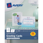 """Avery® Greeting Card – 4 1/4"""" X 5 1/2"""" – Matte – 20 / Pack – White With Quarter Fold Greeting Card Template"""