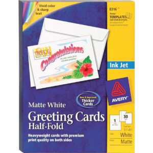 """Avery® Greeting Card – 8 1/2"""" X 5 1/2"""" – Matte – 30 / Box – White with regard to Quarter Fold Greeting Card Template"""