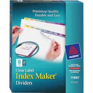 """Avery® Index Maker Print & Apply Clear Label Dividers With Contemporary  Color Tabs – 8 X Divider(S) – Print-On Tab(S) – 8 Tab(S)/set – 8.5"""" Divider with regard to 8 Tab Divider Template Word"""